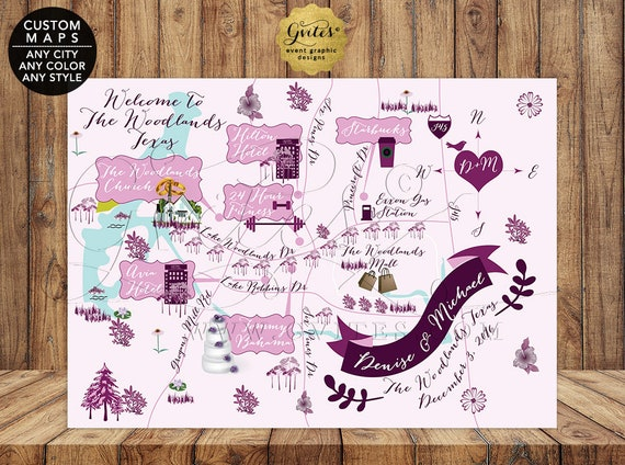 The Woodlands Texas Custom Wedding Maps Personalized - Lavender Purple Printable Digital File {Any City/ Color/ Style}