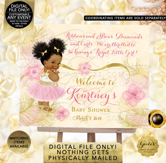 Blush Pink Ivory Gold Ballerina Baby Shower Welcome Sign Pink Gold Ethnic Girl | Printable Digital File Only! JPG + PDF Format | By Gvites