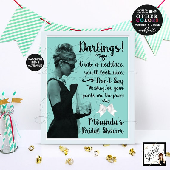 Personalized Bridal Shower Audrey Hepburn Pearl Necklace Game Sign, Don't Say Wedding or your pearls are the price, Digital download. 8x10