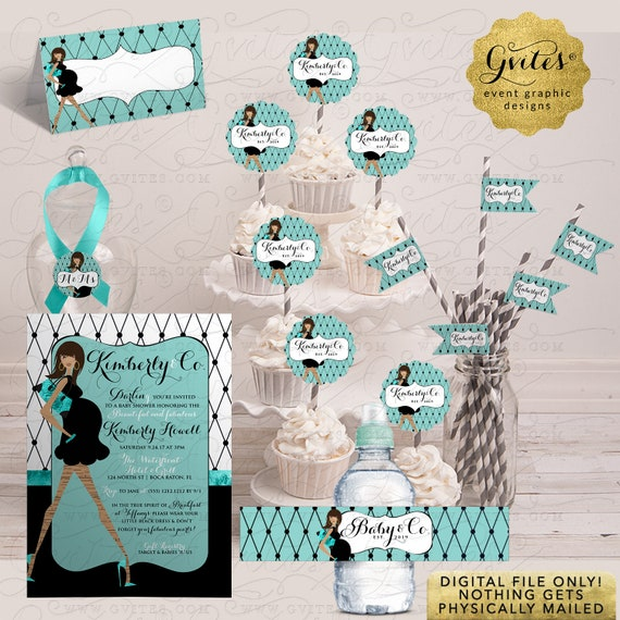Baby & Co Blue Baby Shower Invitation / Breakfast Blue/Teal/Aqua SET Printable Pack 6-Pc | Digital/JPG+PDF. 5x7""