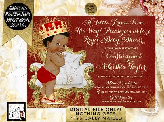 Red Gold Baby Shower Little Prince   Printable Digital JPG + PDF   By Gvites
