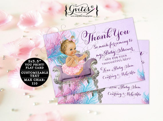 "Purple and Turquoise Baby Thank You Cards baby shower ribbons bows/ lavender diamonds pearls/ girl/ flat customizable. {5x3.5"" 4 Per/ Sheet}"