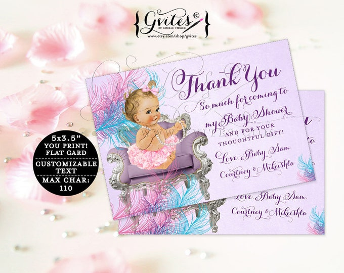 "Purple and Turquoise Baby Thank You Cards baby shower ribbons bows, lavender diamonds pearls, girl, flat customizable. {5x3.5"" 4 Per/Sheet}"