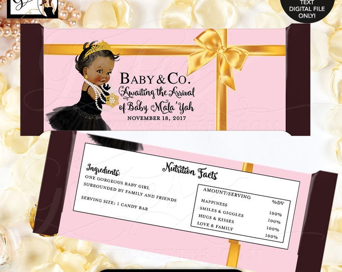 Baby and Co Candy Wrappers Pink and Gold Candy Bar Wrapper, party favors, candy bar wrapper, digital printable, princess BABY SHOWER