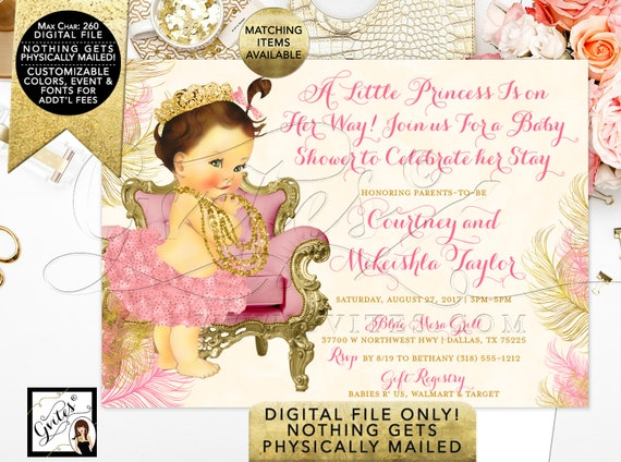 "Pink and Gold Princess Baby Shower Printable Invitation/7x5"" Digital/Ribbons bows pearls tutus. Blush pink and ivory."
