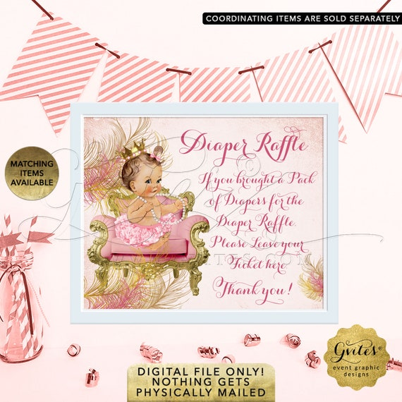 "Diaper Raffle Sign Blush Pink & Gold Baby Shower Table Game Decoration 10x8"" Printable File Only! JPG + PDF."