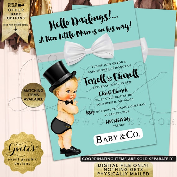 "Baby & Co Shower Blue Boy Invitations. Hello Darlings! A New Little Man is on his way! Digital/JPG+PDF. 5x7"" Double Sided."