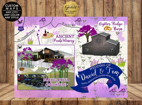 Gay Wedding Maps Same-Sex Wedding Santa Margarita Oyster Ridge Barn/ LGBTQ Personalized Map/ ANY City - Color - Style