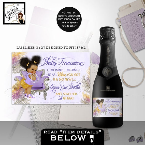 MINI Champagne Labels Baby Shower | The time is near favors gifts African American baby girl stickers wrappers DIGITAL 3x2/9 Per Sheet