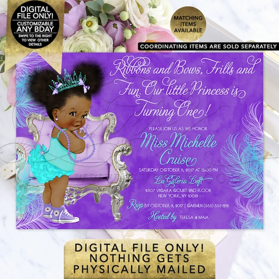 "Purple Turquoise Tiara Princess Birthday Printable Invitation  | Afro Puffs African American Vintage Girl 7x5"" Gvites."