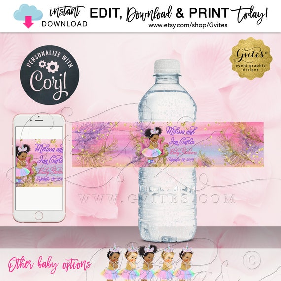 Water Labels Unicorn Baby Shower Princess Theme | Digital File JPG + PDF Format | Instant Download. Edit w/Corjl