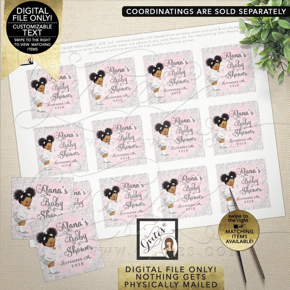 Baby Shower Winter Theme Square Tags/ Labels or Stickers. DIY/ Printable File/ JPG + PDF Format. 2x2/ 12 Per Sheet