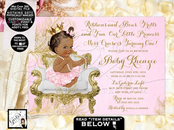 Princess Birthday Invitation Pink Gold Diamonds Pearls | African American Gold Crown {White/Gold Feathers} | Design: CWCHS-104
