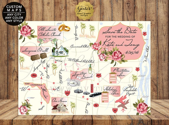Save The Date Printable Wedding Map/ Custom Maps Florida Beach Wedding/ Wine Country Itinerary Maps Napa Valley/ Digital File ANY CITY