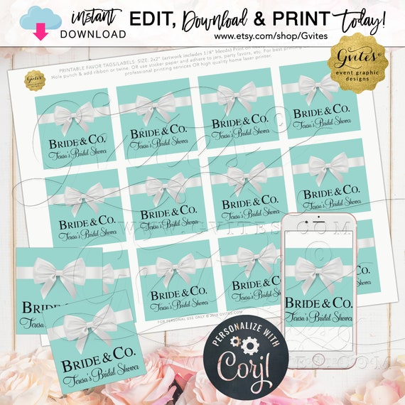 "Bridal Shower Name & Co Square Tags For Party Favors/Gifts. 2x2"" {Instant Download}"