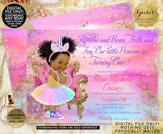 Unicorn Birthday Printable Invitation. Afro Puffs Princess African American Baby Girl. Rainbow Colors Magical Day. Digital File Only!