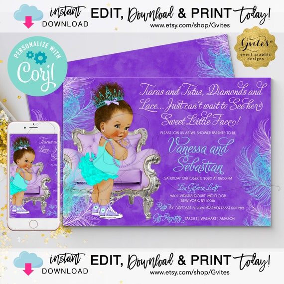 "Lavender & Turquoise | Med/Bun Curly Baby Clipart Tiaras Tutus Diamond Lace 7x5"" Double Sided {Personalized with Corjl}"