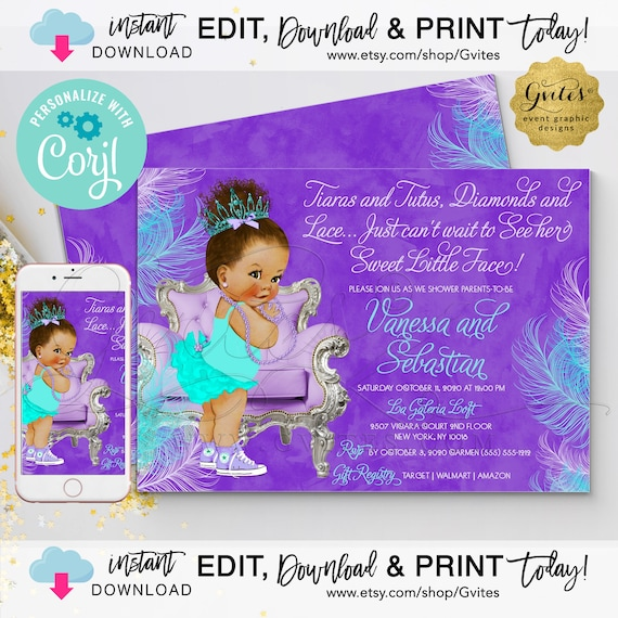 "INSTANT EDIT YOURSELF Purple Lavender Blue Aqua Baby Shower | Med/Bun Curly Baby Tiaras Tutus Diamond Lace 7x5"" {Personalized with Corjl}"