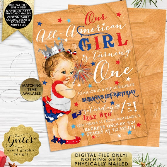 "ALL AMERICAN GIRL | First Birthday 4th of July invitation | Patriotic | Rose gold red white & blue | Printable | Digital 5x7"" Double Sided"