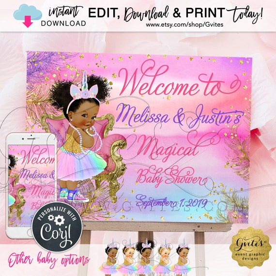 "Unicorn Baby Shower Welcome Sign Princess Vintage. Pink Purple Gold Rainbow Colors African American. Edit W/Corjl INSTANT DOWNLOAD {24x18""}"