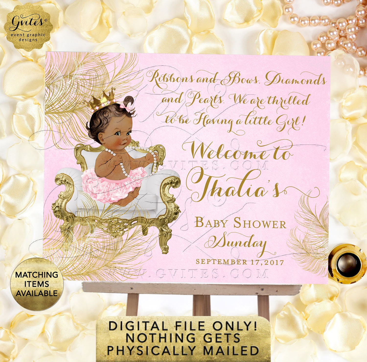 CWCHS-104 African American Gold Crown {White Gold Feathers} Design Princess Birthday Invitation Pink Gold Diamonds Pearls