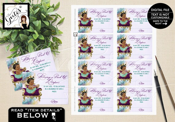 Peacock Little Princess Baby Raffle Tickets/ Baby Party Printable Card/ Vintage Baby Prize Drawing Raffle Ticket/ 3 Skin Tones