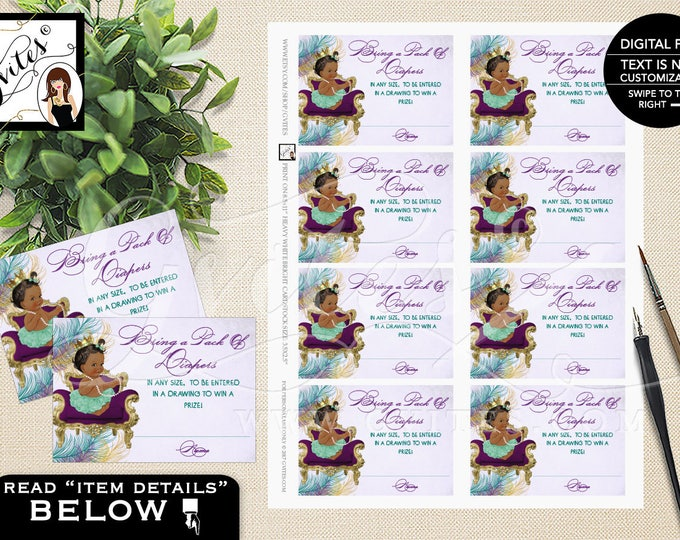 """Peacock diaper tickets, diaper raffle, Peacock baby shower diaper cards, inserts, african american, purple and gold {3.5x2.5""""/ 8 Per Sheet}"""