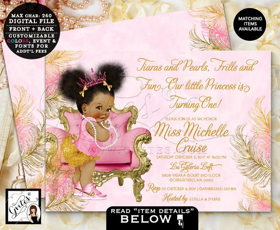 Pink Gold First Birthday Invitation | Princess Afro Puffs African American Vintage | Tutus Pearls {Design: TIACH-110} By Gvites