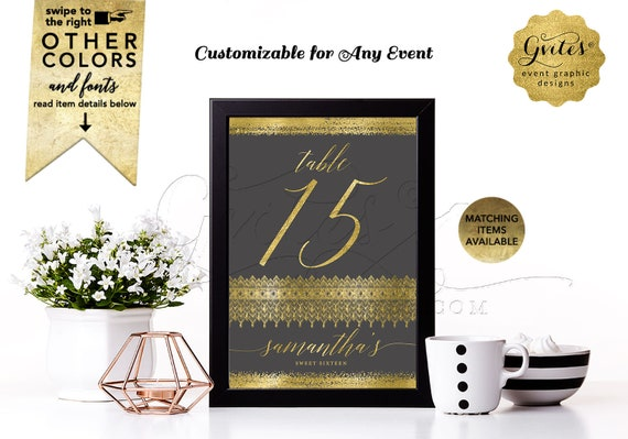 "Sweet 16 Table Numbers Charcoal Gray & Gold | Custom Signs/Decorations/Reception Quinceanera Decor Digital File JPG/PDF | 4x6"" or 5x7"""