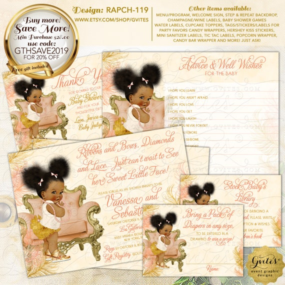Peach Ivory Gold Baby Shower Diaper Raffle Tickets Afro Puffs Vintage | Design: RAPCH-119 By Gvites