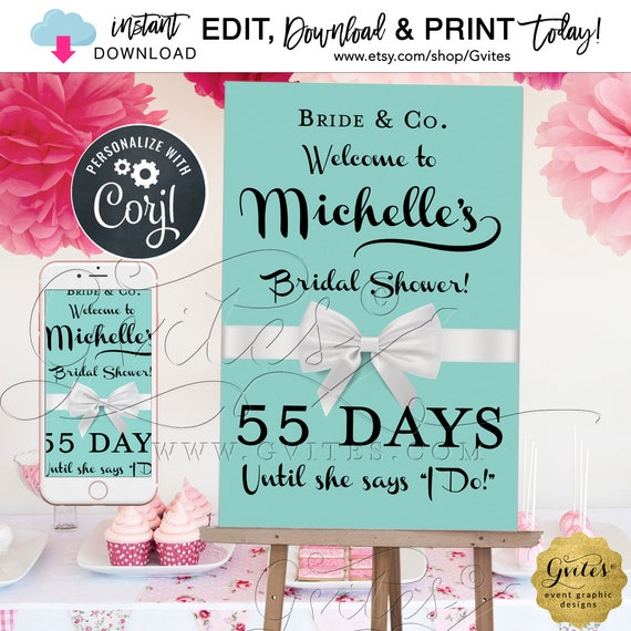 "Bride & Co Countdown Poster To Wedding Welcome Sign Robin/Turquoise/ Blue Breakfast Decor | Edit TODAY W/Corjl {Size(s) 12x18"" and 24x36""}"