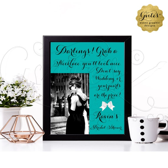 """Personalized Bridal Shower Audrey Hepburn Pearl Necklace Game Sign 8x10"""" 