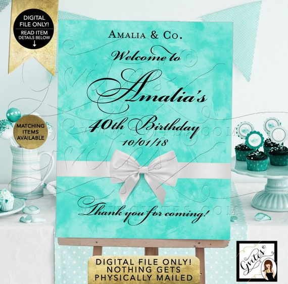 Welcome Birthday Signs 40th Birthday Party Decor | Digital JPG + PDF Format By Gvites