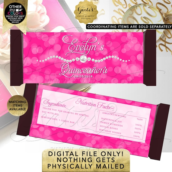 """Pink & Pearls Quinceanera Candy Bar Wrapper/ Party Favors/ Gifts/ Table Decorations/ 2 Per Sheet 5.25x5.75"""" {Satin Ribbon}"""