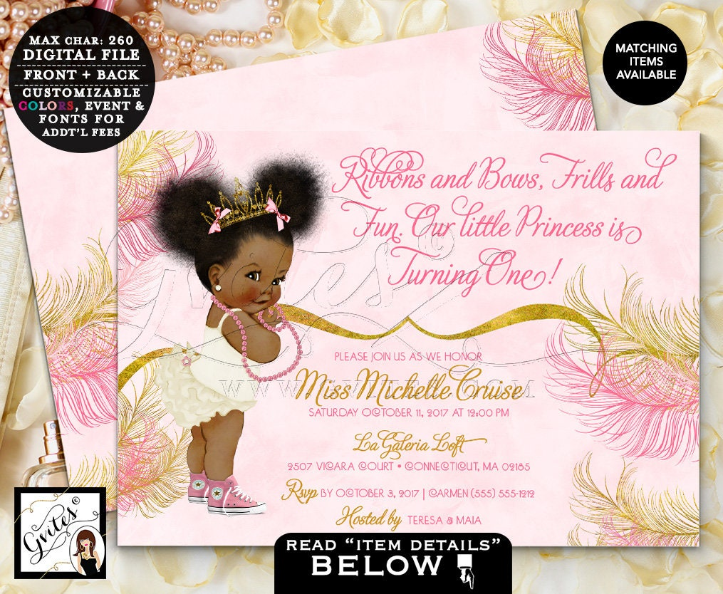 Pink and Gold First Birthday Invitations, Princess Birthday African ...
