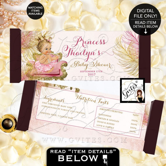 Candy Bar Wrapper Blush pink and gold royal princess baby shower/ vintage girl decor/ favors/ diamonds pearls Gvites | Design: CWCHS-101