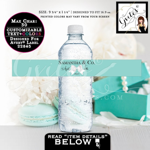 "Water Bottle Label stickers | Bride and Co 9.75x1.25""/ 5 Per Sheet {Designed For Avery® 22845}"