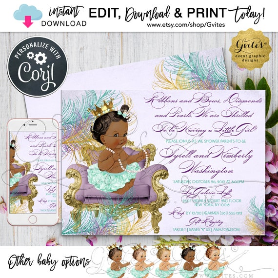 Vintage Baby shower invitation/ ribbons and bows/ diamonds and pearls/ girl printable invites/ purple and teal/ african american/ 7x5 Gvites