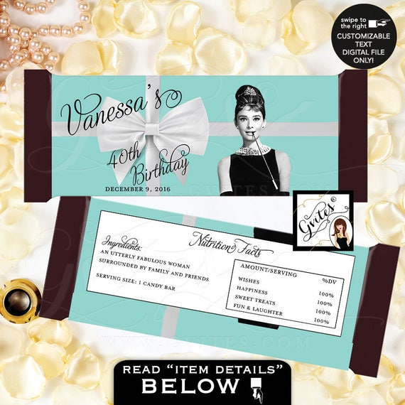 "Audrey Hepburn Party 40th Birthday Candy Bar Wrapper/ Hershey chocolate wrapper/ PRINTABLE {2 Per/ Sheet 5.25 x 5.75""}"