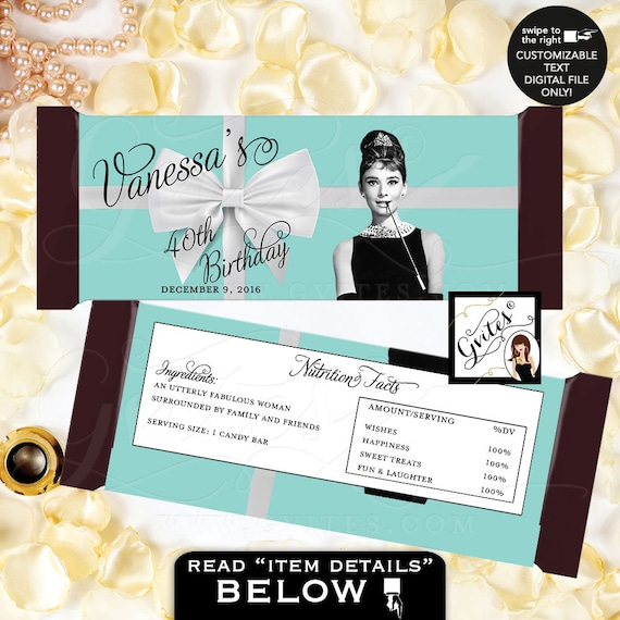 """Audrey Hepburn Party 40th Birthday Candy Bar Wrapper, hershey chocolate wrapper, PRINTABLE {2 Per/Sheet 5.25 x 5.75""""}"""