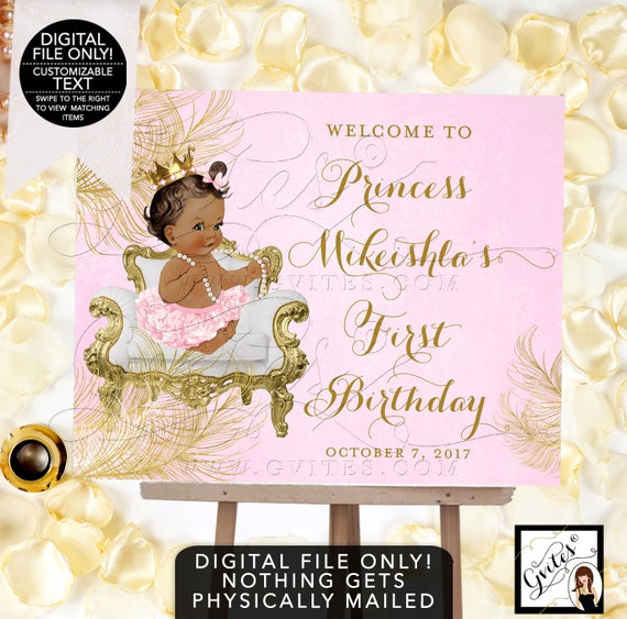 Welcome Birthday Signs Pink Gold Diamonds Pearls African American Gold Crown {White/ Gold Feathers} | Design: CWCHS-104