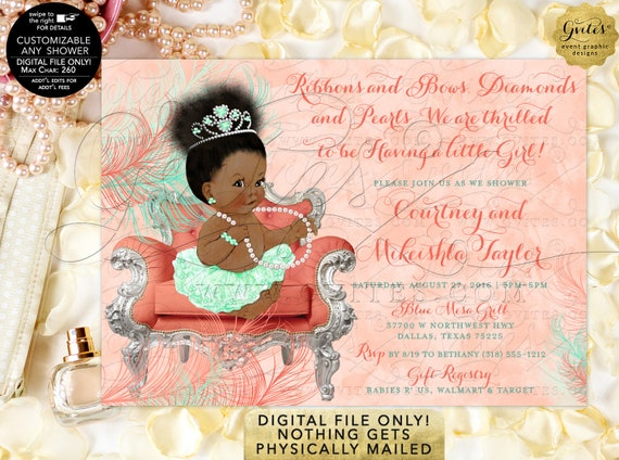Afro Puff Bun Coral Mint Vintage Baby Shower Invitation | Printable/Digital File Only! JPG + PDF Format | By Gvites