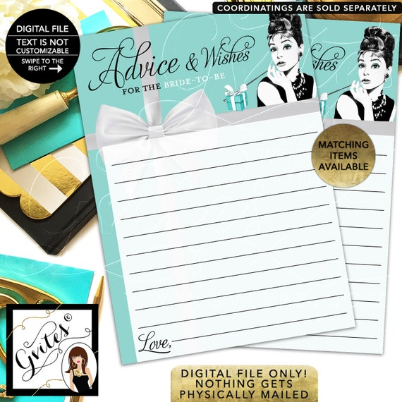 Breakfast at Advice Cards Bridal Shower / Advice and Well Wishes / Bridal Shower Fun Cards Audrey Hepburn Party Theme  {INSTANT DOWNLOAD}