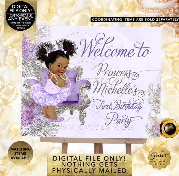 Birthday Lavender Silver Princess Ballerina Baby Invites Printable Digital JPG + PDF   By Gvites