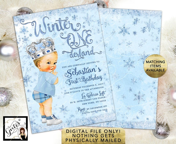"Boy Vintage Prince Winter ONEderland Birthday Invitations/ Ice Blue Frosted Frozen First Party/ Digital File 5x7"" Double Sided."