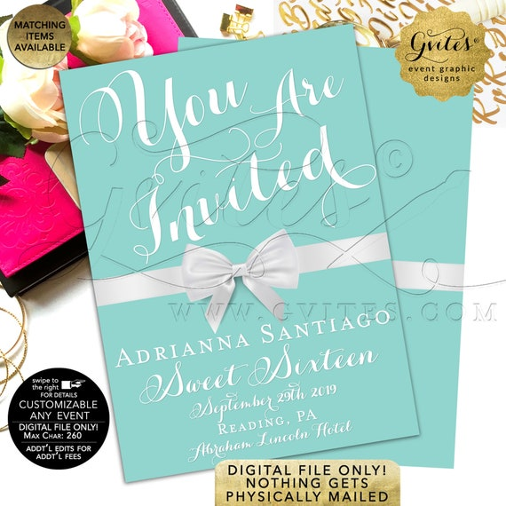 Sweet Sixteen Invitation Breakfast Theme | Turquoise Blue/ Aqua/ Teal/ White Bow | White Bow Digital | Teen 16th Quinceanera  JPG + PDF