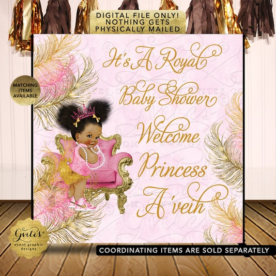 Baby Shower Backdrop Afro Puffs Baby Girl | African American Vintage Theme Photo Prop Banner | Digital File JPG + PDF {Design: TIACH-110}