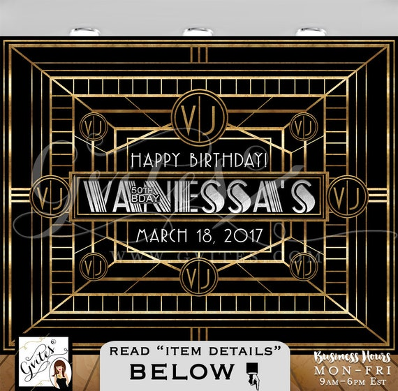 Great Gatsby Backdrop, 50th birthday photo booth backdrops, personalized Gatsby PRINTABLE photo wall backdrop sign, gold black & silver.