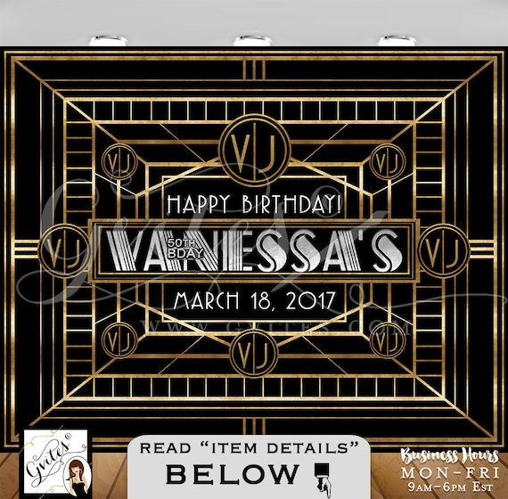 Great Gatsby Backdrop/ 50th birthday photo booth backdrops/ personalized Gatsby PRINTABLE photo wall backdrop sign/ gold black & silver.