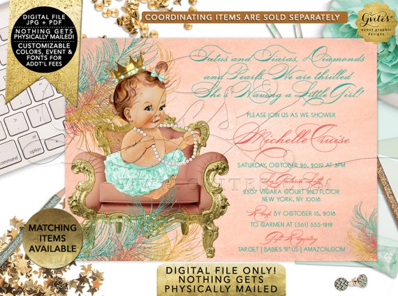 Mint Green and coral baby shower invitation/ Princess African American baby girl/ Tutus tiaras diamonds and pearls. Gvites
